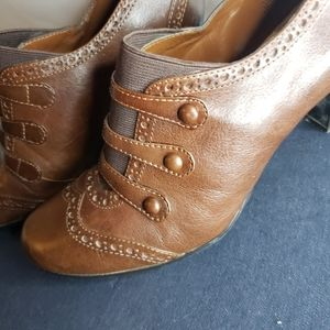 Hilary Radley booties brown with stitched access